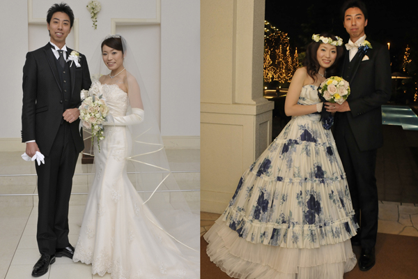 ずっと夢だったマーメイドのウェディングドレス♡お色直しは新郎へのサプライズで用意しました★ 二人の身長差25cm!