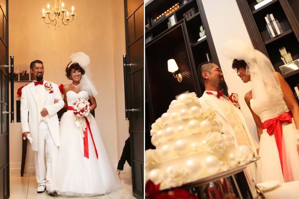 披露宴入場で、チャペルの時とは違うドレスにチェンジ!会場が沸きました!