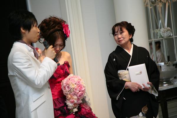 新郎最後の挨拶、新婦母へ誓いの言葉。嬉しくて号泣してしまいました。