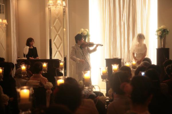 チャペルにて人前式 「誓いのヴァイオリン演奏♪」