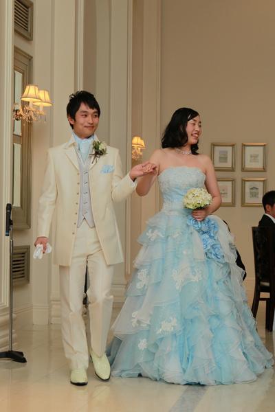 カラードレスは大好きなジャスミンをイメージした水色のドレスにしました♪