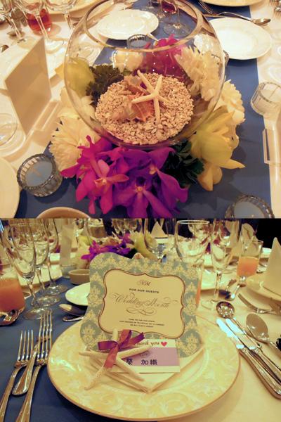 テーブル装花は海をイメージして・・・席札も手作りしました