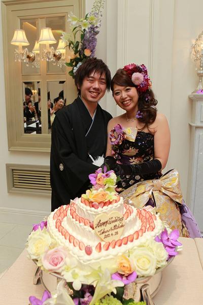 かわいいwedding cakeに大満足。