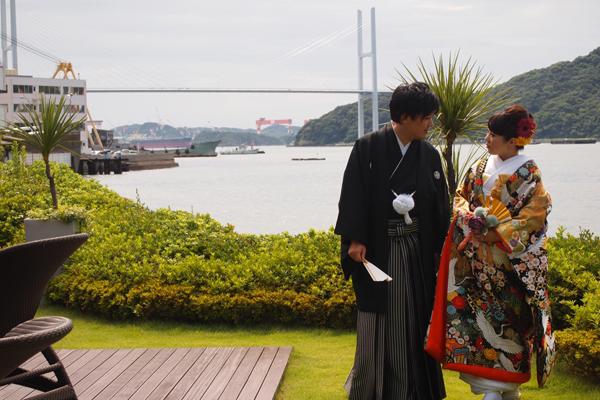 挙式1か月前に和装で前撮り。ガーデンでゆっくりと素敵な写真が撮れました。
