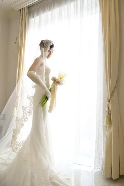 憧れのマーメイドドレスとカラーのアームブーケは参列者の方々から大好評!!