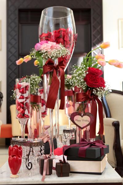 ロビーの装飾。バレンタインのイメージにしてもらいました。