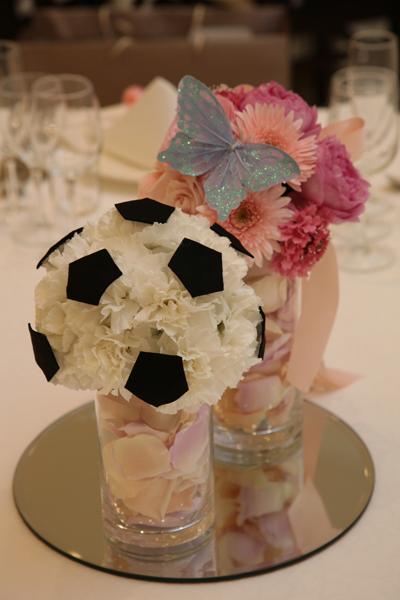 新郎の大好きなサッカー★お気に入りのお花です。入場曲も日本代表!!