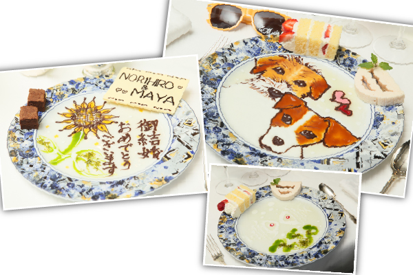 マノワール・ディノのパティシエ特製 フルーツソースで描かれたデザートプレート。いつ見ても芸術です。
