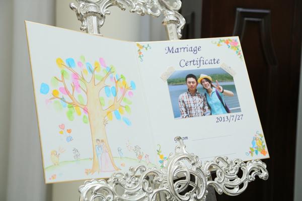 結婚証明書は友人の手書きイラストであったかい感じに…