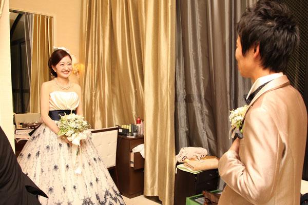 カラードレスは当日まで秘密!初めて見た瞬間です。