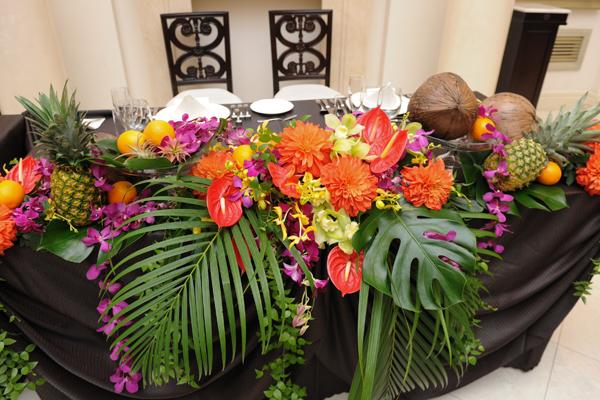 イメージぴったりのテーブル装花でした