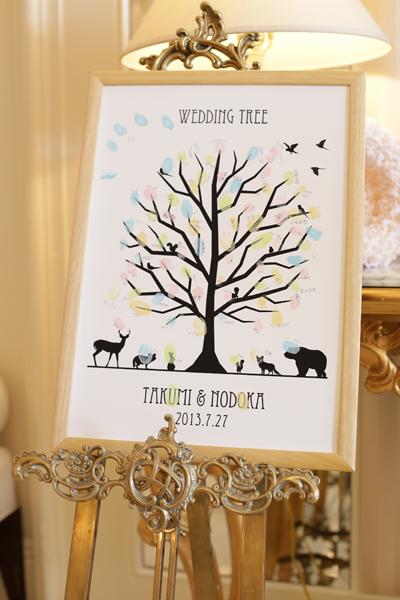 ゲストの皆様にも協力してもらい、わたしたちの結婚証明書「ウェディングツリー」が完成。