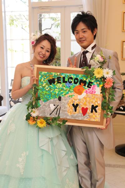 姉手作りのウェルカムボード。手作り感満載の素敵なジブリ結婚式でした!
