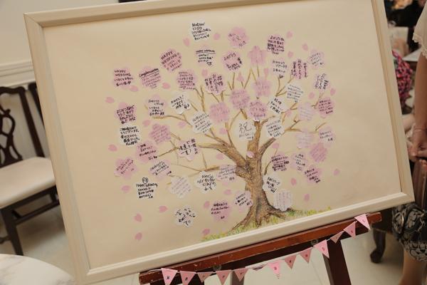 桜をテーマに装飾も考え、桜の枝のみ描きました!