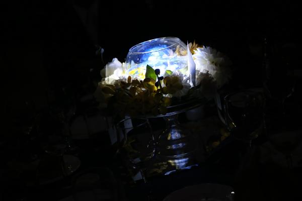 出席者の方々にも披露宴テーマ【宇宙】を水に入れると光るキューブで演出して頂きました。