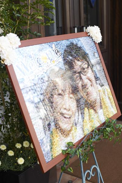 1500枚の写真で作ったウェルカムボード。家族やゲストとの思い出が詰まってます!