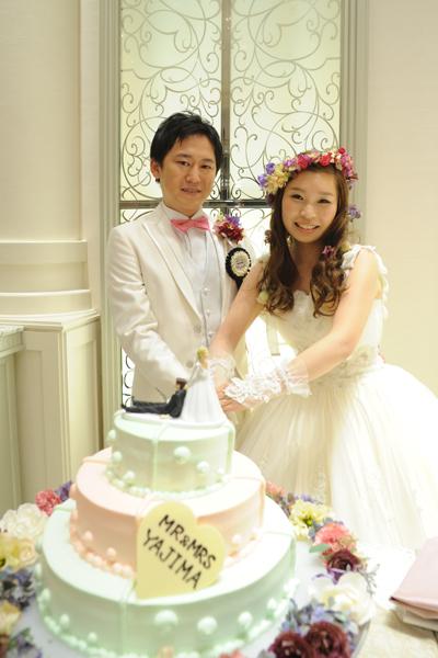 こだわりのミントグリーン&ピンク色のケーキ
