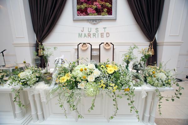 手作り小物と装花はゲストの皆様に好評でした