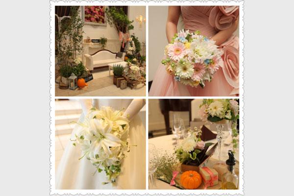 装花もブーケも大好きなお花を沢山入れてもらい大満足。特にブーケは一生の宝物です。<br /> ハロウィンだったので小さいかぼちゃも入れてもらいました。