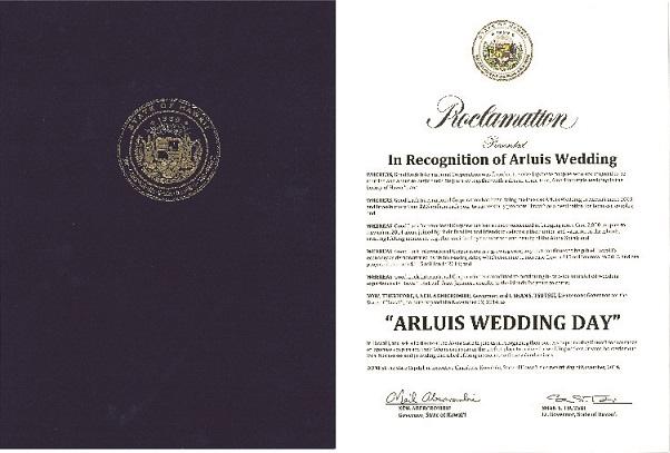 当グループが展開する海外・リゾートウェディングブランド「アールイズ・ウエディング」において、<br /> アメリカ合衆国ハワイ州知事ニール・アバクロンビー氏(Mr. Neil Abercrombie)より<br /> 11 月22 日(いい夫婦の日)が「ARLUIS WEDDING DAY」に制定されました。