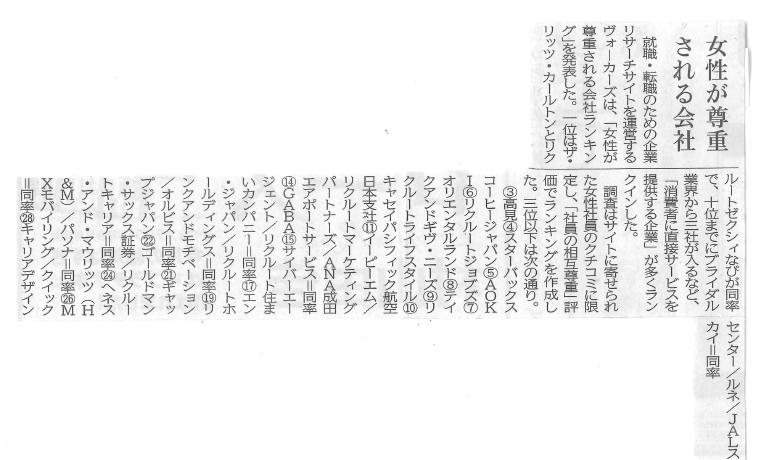 【新聞】8月29日(月)発刊『新聞之新聞』(新聞之新聞社)にて「女性が尊重される会社ランキング」に選出された旨が掲載されました